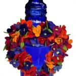 çiçekli kalp şişe süsü